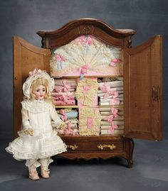French Wooden Doll's Armoire with Original Linen-Fitted Interior from Au Nain Bleu