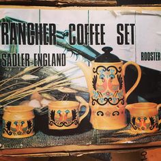 """#rancher #coffeeset #sadler #cockerels #midcenturyhome #midcenturydesign #midcenturyhomewares #sobohovintage #forsale #qualityvintage #derbyshire #findusonfb #findusonline #findusatvintagefairs or #commenttobuy www.sobohovintage.co.uk"" Photo taken by @vintagelynz on Instagram"