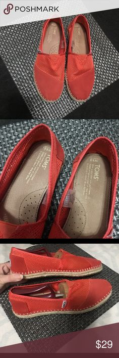 Burnt Orange Mesh TOMS Espadrilles Size 8.5, burnt orange. Like new worn once.   Happy to bundle :)   All items come from a clean, non smoking home.   Check out my other items! Lots of Nike, Victoria Secret, Under Armour, Lululemon, American Eagle, J Crew, Athleta, Buckle & Miss Me items. Toms Shoes Flats & Loafers