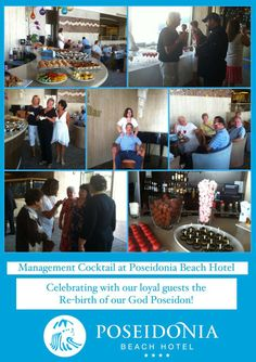 """Happening Now at the """"New"""" Poseidonia Beach Hotel... Management Cocktail at our #TridentBar... Celebrating the re-birth of our God Poseidon with our loyal Guests!"""