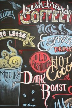 We hired a local artist to deck out the chalkboard wall with a chalk pen mural full of coffee and wine terms. Its not dusty or smudge-able with a finger, but it can be scrubbed off with a magic eraser. Blackboard Art, Chalkboard Lettering, Chalkboard Designs, Chalkboard Walls, Chalkboard Wall Kitchen, Coffee Menu, Coffee Cafe, Coffee Shop, Coffee Chalkboard