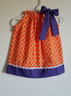 Clemson Dress Pillowcase Dress Orange and Purple Clemson Tigers Game Day Dress College Football Girl Football Dress, Football Girls, Football Outfits, College Football, Tigers Game, Clemson Tigers, Day Dresses, Girls Dresses, 2nd Birthday Outfit