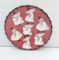 WHIRLING DERVISH CERAMIC PLATE, RED , 18 cm