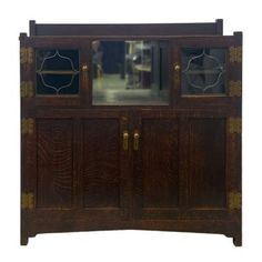 ROYCROFT Oak Sideboard with Caned Glass Doors Roycroft, Oak Sideboard, Arts And Crafts Movement, American Art, China Cabinet, Palm Beach, Auction, Glass Doors, Antiques
