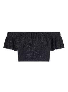 Black Glitter Co-Ord Crop Top