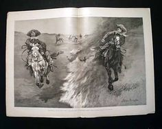 "Harper's Weekly, October 1888 ""Dragging a Bull's Hide Over a Prairie Fire in Northern Texas"" ~ Frederick Remington"