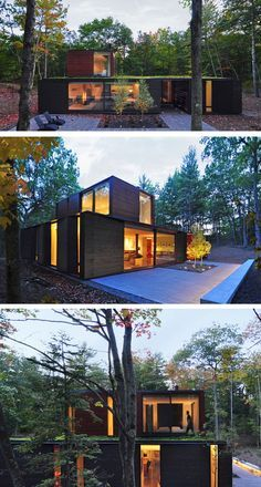 Johnsen Schmaling Architects have designed a house for a graphic designer and her husband, that sits on the heavily wooded eastern shore of Wisconsin's Door County, a narrow peninsula on Lake Michigan.