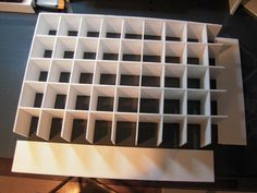 DIY trinket cabinet from foam core board. For sewing thread storage? Marker Storage, Thread Storage, Sewing Room Storage, Paint Storage, Craft Storage, Storage Ideas, Scrapbook Organization, Craft Organization, Christmas Ornament Storage