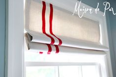 red striped roman shades