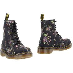Dr. Martens Ankle Boots (175 AUD) ❤ liked on Polyvore featuring shoes, boots, ankle booties, black, floral booties, army boots, black bootie, black ankle bootie and ankle boots
