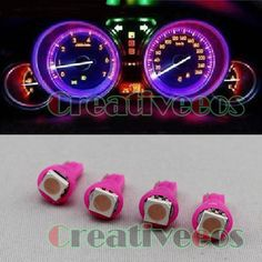 4Pcs T5 Wedge 5050 SMD Gauge Cluster Speedometer LED Instrument Light Bulb Pink