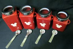 Hey, I found this really awesome Etsy listing at https://www.etsy.com/listing/129485864/mickey-mouse-ceramic-red-canisters-with