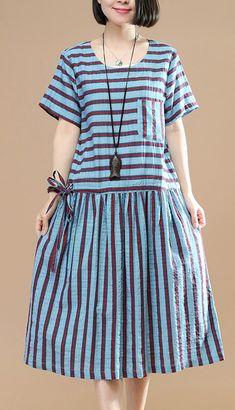 top quality blue striped linen shift dresses oversize linen clothing dresses 2018drawstring short sleeve