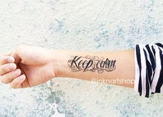 2pcs KEEP CALM typography temporary tattoo von InknArt Temporary Tattoo auf DaWanda.com
