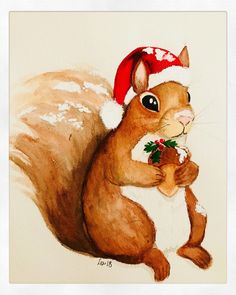 Let this sweet squirrel help you usher in the Christmas spirit. She comes bearing an acorn gift and dressed in a jolly Santa hat. This is a hand painted watercolor on quality watercolor paper and light fast watercolor paints which will not fade. Christmas Signs Wood, Diy Christmas Tree, Outdoor Christmas, Christmas Wreaths, Christmas Decorations, Christmas Ornaments, Cake Decorations, Christmas Time, Christmas Squirrel
