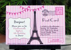 Paris Post Card Birthday Party invitation