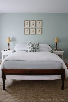 Light Blue Gray Paint Colors | Blue gray bedroom, Grey bed and ...