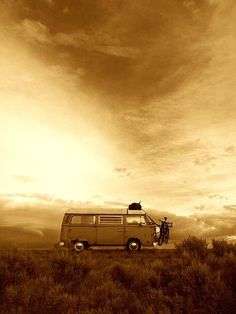 Sepia tones- incorporate a bus, car, ride. Want a dark-red wine colored.