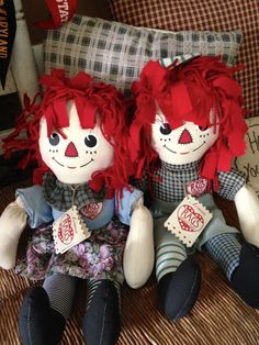 16 inch Raggedy Ann and Andy Dolls by Applause with Tags Scarce Color Combination Country | eBay