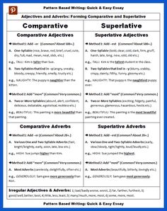 Adjectives and Adverbs: Comparative and Superlative Forms – Complete Lists