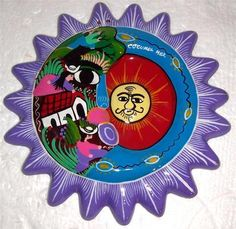Cuzumel Mexico Handmade & Painted Clay Pottery Wall Sun Plate