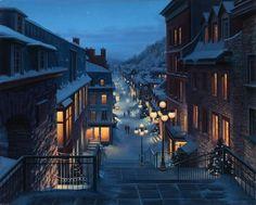 L'escalier Casse-cou, dans le Petit Champlain? EVGENY LUSHPIN, peintre réaliste Russe