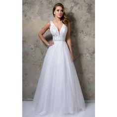 Nina Canacci 1241 Ball Gown Long  Sleeveless (980 BRL) ❤ liked on Polyvore featuring dresses, wedding dress, formal dresses, white, sleeveless dress, frilly dresses, flutter-sleeve dress, long ruffle dress and sleeveless long dress