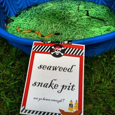 #pirate party seaweed snake pit out of spaghetti!