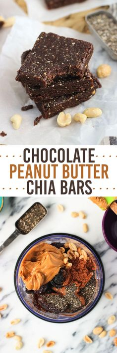 Chocolate Peanut Butter Chia Bars - an easy five-ingredient healthy snack…