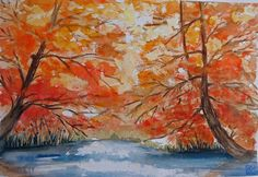 """""""bosco d'autunno"""" acquerello di Lorenza Pasquali 35x51 carta rough 100% cotone"""