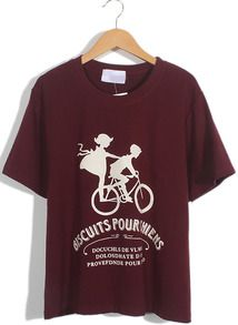 Wine Red Short Sleeve Bicycle Letters Print T-Shirt