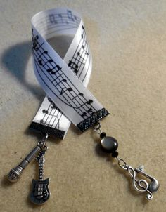 White, music inspired - customizable - ribbon bookmark