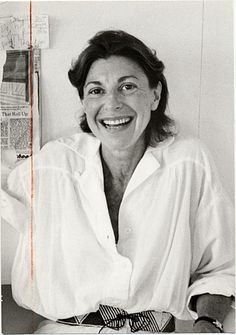 Helen Frankenthaler in her Connecticut studio, wearing a loose white blouse and beaded belt. Citation: Helen Frankenthaler, 1983 Sept. 20 / Cora Kelley Ward, photographer. André Emmerich Gallery records and André Emmerich papers, Archives of American Art, Smithsonian Institution.