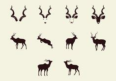 Kudu Silhouette Icon Set Snapback And Tattoos, Safari Room, Photography Branding, String Art, Icon Set, Art Images, Vector Art, Deer, Branding Design