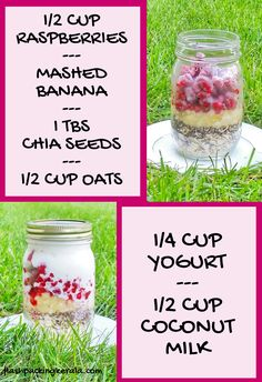 Raspberry overnight oats with coconut milk and with chia seeds. healthy breakfast ideas with fruit. ingredients list with how much - frozen raspberries, Clean Eating Oatmeal, Clean Eating Breakfast, Easy Healthy Breakfast, Breakfast Ideas, Vegan Breakfast, Breakfast Recipes, Frozen Breakfast, Breakfast Sandwiches, Breakfast Burritos