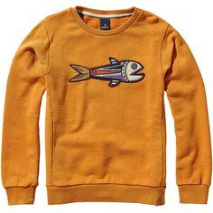 Scotch & Soda Artwork Sweater (4.750 RUB) ❤ liked on Polyvore featuring cinnamon