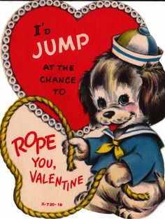 Vintage 1970s I'd Jump At The Chance To Rope You Valentine from poshtottydesignz on Etsy.