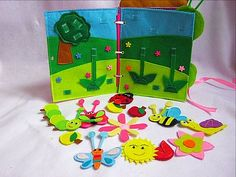 Pages quiet book | Activity book | Busy book | Toddler quiet book | Page who flies who crawls out of felt | page #7 Kids educational personalized quiet book for two pages. On these pages Who flies who crawls. On the page you can see the lawn , tree , Apple , sun ,caterpillar ,