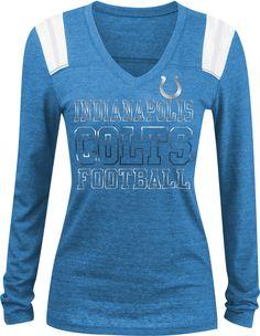 Team Apparel Women s Indianapolis Tri-Blend Foil Blue Long Sleeve Shirt 77baa9347