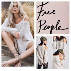 "Free People Cream Shoulder Cutout Tunic.  NWT. Free People Cream Shoulder Cut Out Tunic, 100% cotton, machine washable, 22"" armpit to armpit (44"" all around), 22"" arm inseam, 24"" front length, 29"" back length, ribbed V neck, gathered at wrist, honey-comb textured, unfinished trim, oversized, effortless fit, high low hem, raw seams, measurements are approx.  ...No Trades... Free People Tops"
