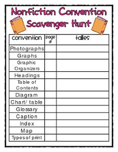 Nonfiction Features Scavenger Hunt FREEBIE
