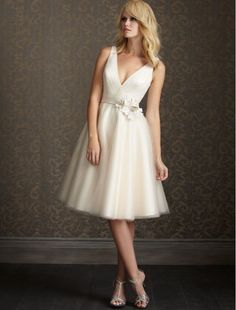 Organza V-Neck A-Line Short Wedding Dress with Floral Waistband - Bridal Gowns - RainingBlossoms