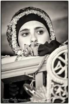 Untitled - Girl dressed in traditional clothes attending the service in Olympos village. Greek Traditional Dress, Traditional Outfits, Mediterranean People, Karpathos, Greece Photography, Magnum Photos, Folk Costume, People Around The World, Cool Eyes