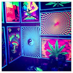 Blacklight posters. Mind's Eye print in particular (the choppy spinny color circle one)