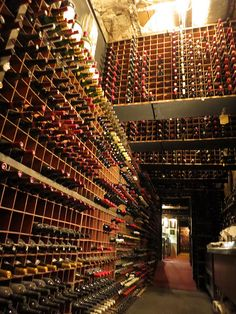 Wine cellar at Bern's Steakhouse in Tampa Florida with the largest wine collection in the US.