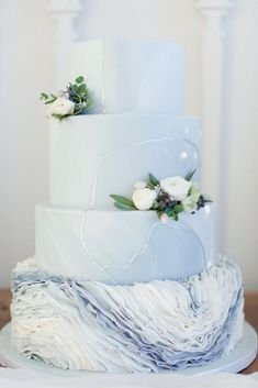 Floral Wedding Cakes Dusty blue wedding cake with floral by La Rue Floral, Photography By Maria Harte Photography Pastel Wedding Cakes, Wedding Cake Fresh Flowers, Amazing Wedding Cakes, Elegant Wedding Cakes, Wedding Cake Designs, Wedding Themes, Trendy Wedding, Wedding Decorations, Vegan Wedding Cake