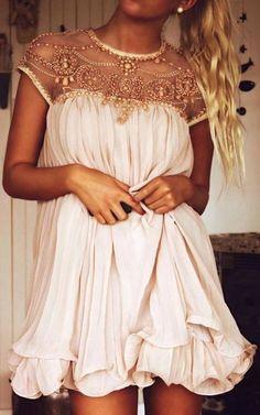 Chicwish Blush Pink Embellished Pleated Dress