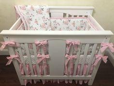 Girl Mini Crib Bedding - Just Baby Designs Princess Crib Bedding, Girl Crib Bedding Sets, Girl Cribs, Baby Cribs, Baby Bedding, Crib Rail Cover, Mini Crib, A 17, Baby Design