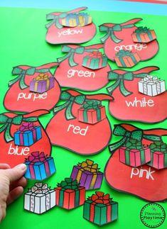 Packing Santa's Bag Color Sorting Activity for Preschool.
