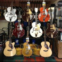 Gretsch wall at Hollywood Music. Hollywood Music, Gretsch, Musicals, Music Instruments, Guitar, Wall, Musical Instruments, Guitars, Musical Theatre